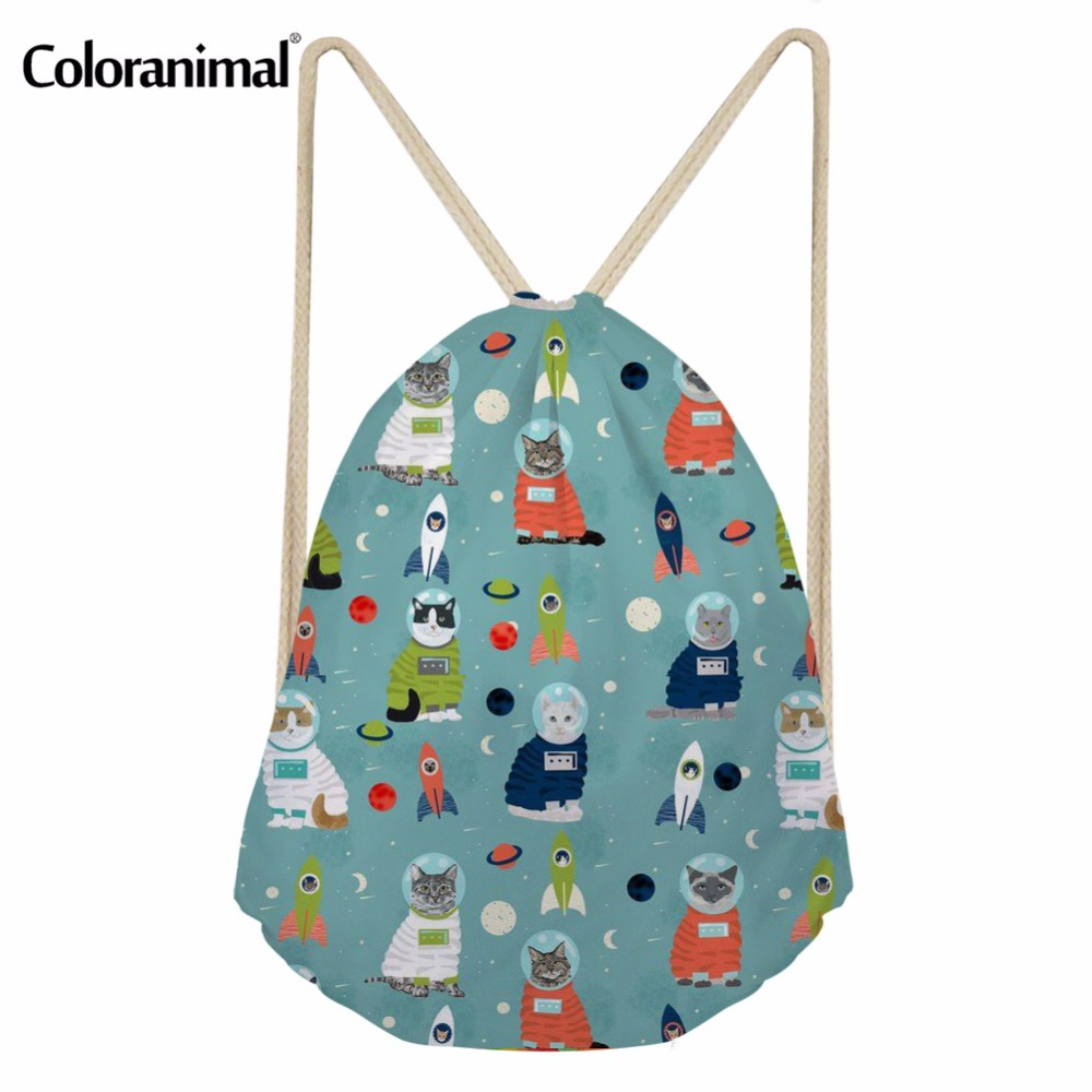 Coloranimal Galaxy Space Cat Print Men's Casual Drawstring Bag Softback Back Pack For Men Women Gym Sack String Storage Backpack