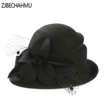ZJBECHAHMU Fashion New Solid Vintage Elegant Floral Wool Fedoras For Women Girl Wedding hat Casual jazz Panama Sombrero Cap