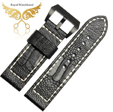 New Arrival Watchband 26mm Real Genuine Ostrich Skin Leather Black Watch Strap Band Free Shipping