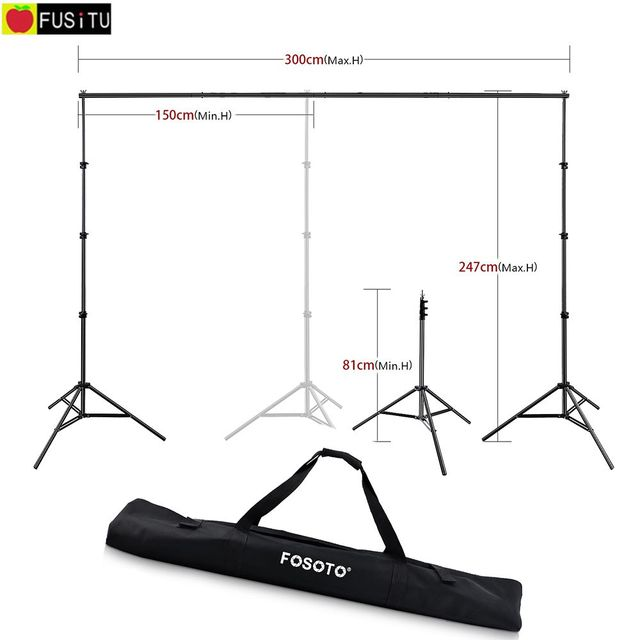 Fusitu 2.6*3M Background Frame Background Support System Stand photography Studio Backdrops Frame For Photo Shoot With Carry Bag