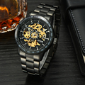 Skeleton Mens Mechanical Watch Automatic Top Brand Luxury Man Wristwatch Retro Waterproof Black Men watches transparent Reloj