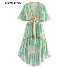 2019 New Turquoise Tide Bow Sashes Hollow Out Waist Dress Ethnic Woman Deep V neck Floral Print Short Sleeve Swallowtail Dresses