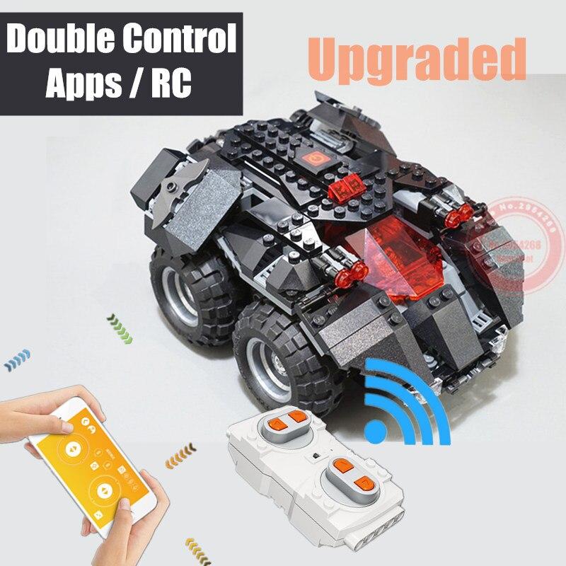 New Superheroes RC App controlled Batmobile fit Batman Technic Power up car Building Blocks Bricks toys