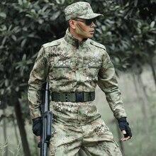 Открытый военный армейский тренировочный костюм пальто+ брюки Мужской Камуфляжный костюм десантника износостойкие комбинезоны линии питона