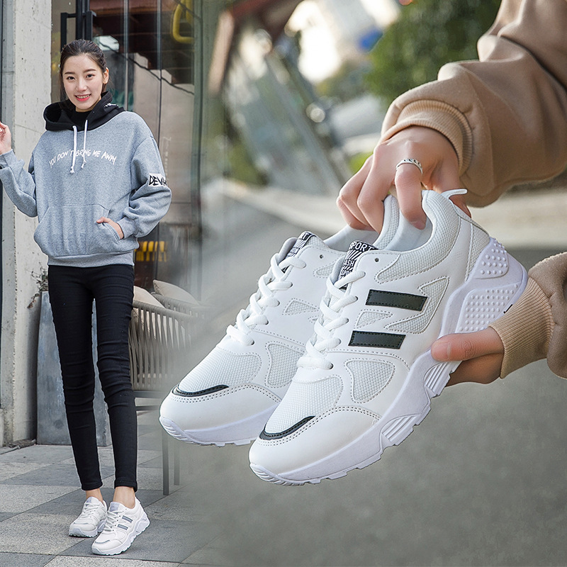 Autumn Season All-match Sneakers Woman New Pattern Student Korean Plate Thick Bottom Increase Leisure Time Run---ALEX sneakers woman 2018 spring and autumn season new pattern korean plate thick bottom chalaza casual old women s shoes