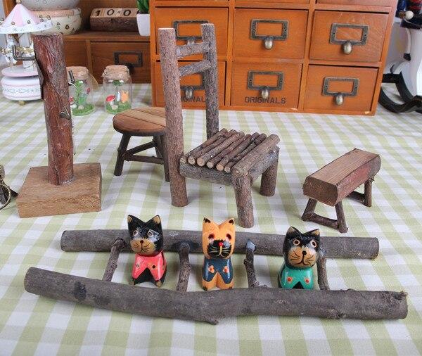 Zakka log retro mini table ladder chair stool ornaments jewelry small ornaments Home Furnishing cat