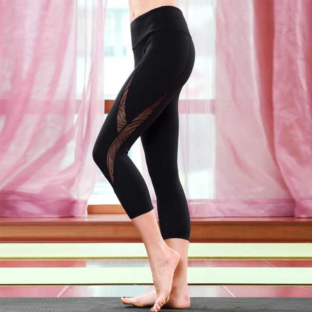 New high quality quick dry Sexy black mesh hollow Women  pants Leggings  Fitness  pants Cropped pants