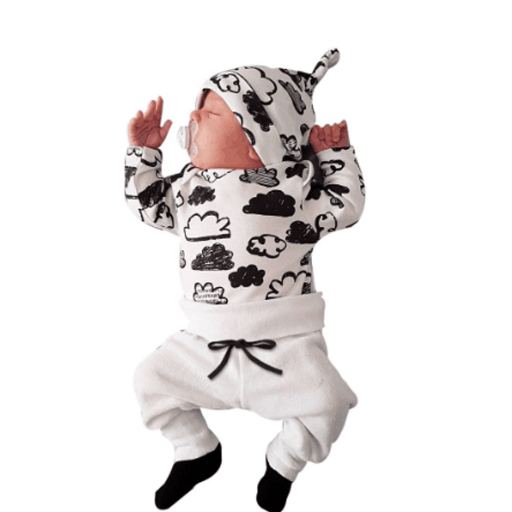 3Pcs/Set Baby Clothing Sets Baby Boys Girls Clouds Printed Clothes Infant T-shirt+Pants+Hat Autumn Kids Outfits Toddler Suit