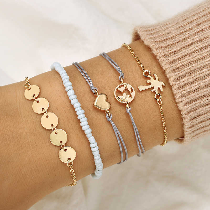 docona Bohemian Tree Map Heart Charms Bracelet Bangles Set for Women Blue Beads Layered Bracelet Set Pulseiras 5pcs/1set 6668