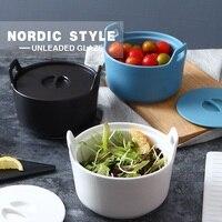 북유럽 매트 도자기 더블 귀 중간 크기 요리 크리 에이 티브 가족 요리 그릇 샐러드 그릇 수프 분지 대형 그릇