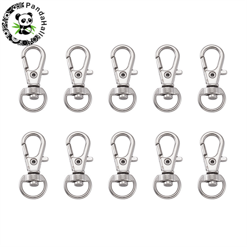 100pcs Alloy Swivel Clasps Snap Hook Lobster Claw Clasp Key Chain Ring For Jewelry Making Platinum Color 32.5x11x6mm Hole:5x9mm