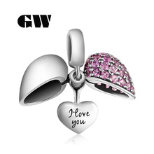Letter I Love You Silver Heart Charms With Purple Stone Genuine Silver 925 Fit Diy Chain Bracelets Brand GW Jewellery S050-30