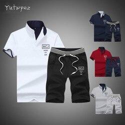Мужской спортивный костюм, футболка с коротким рукавом и стоячим воротником, лето 2019