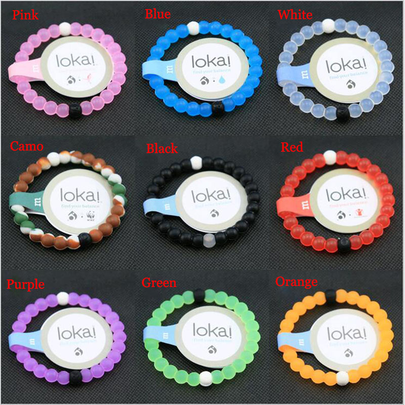 Whole Nature 8 Colors Mix 80pcs Lokai Bracelet White Blue Red Camo Pink Orange Black Purple Silicone Beads Bracelets In Men S Costumes From