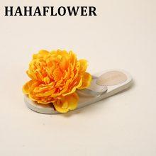 f5be1c0b7 HAHAFLOWER Nova Moda Verão Sapatos Mulher Chinelos Amarelo 16 cm Flores  Mulheres Sandálias Sandálias Flat Chinelos
