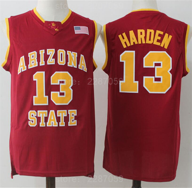 12662a49696 Ediwallen Arizona State Sun Devils 13 James Harden Jersey Red Yellow White  Basketball Harden College Jerseys Stitched Quality