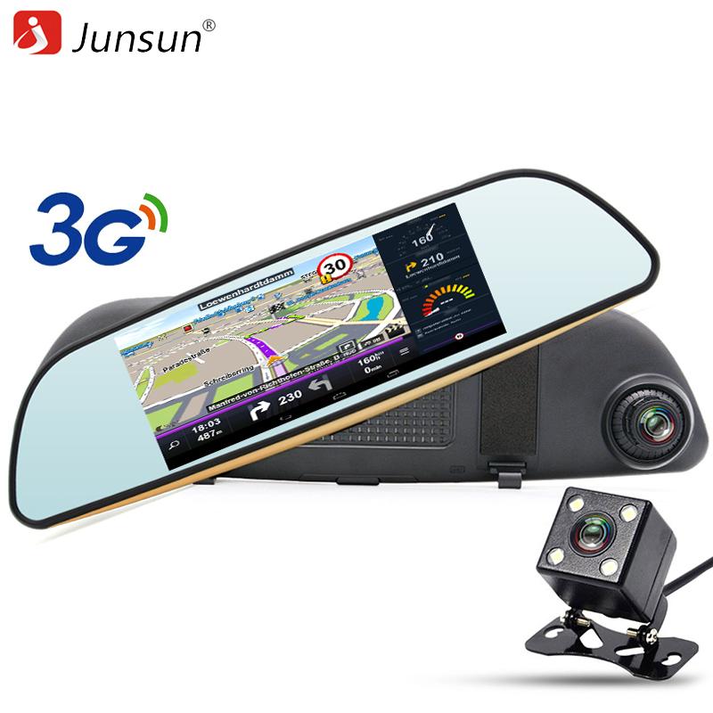 Prix pour Junsun 3G 7 pouce Voiture GPS Navigation Android Rétroviseur voiture DVR Caméra WIFI Bluetooth automobile sat nav navigator livraison cartes