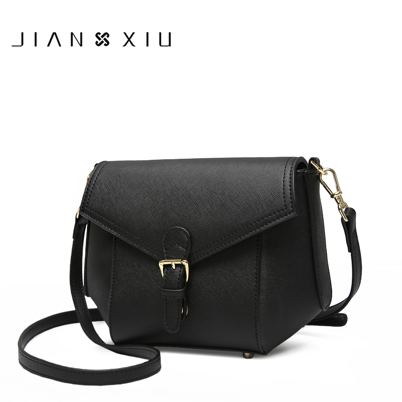 JIANXIU Brand Geniune Leather Women Messenger Bags Cross Texture Small Solid Color Shoulder Belt Buckle 2018 New Crossbody Bag stylish alloy buckle solid color faux leather men s belt