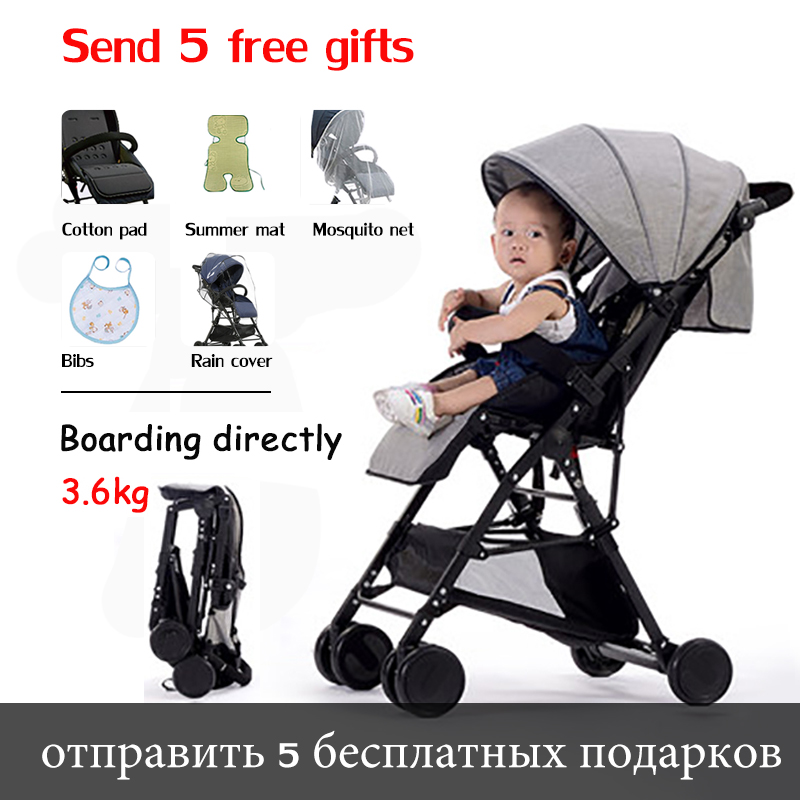 Lightweight 3.6 kg fold stroller can sit and lay cotton and lie material high landscape stroller directly boarded plane 5 giftLightweight 3.6 kg fold stroller can sit and lay cotton and lie material high landscape stroller directly boarded plane 5 gift