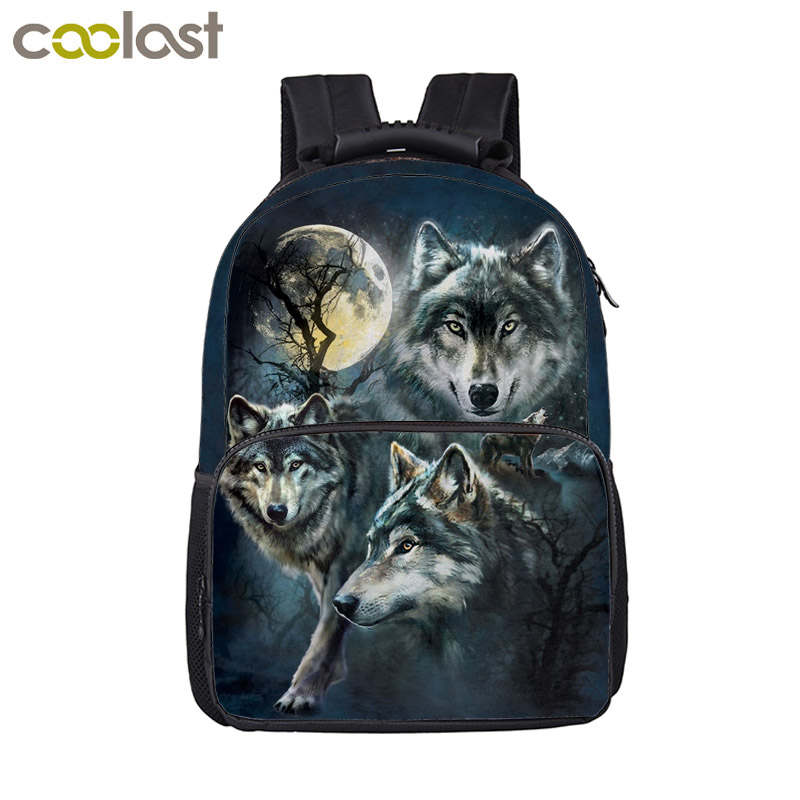Zoo Backpack Schoolbags Wolf Dinasour Bag Women Men Travel Bags Crazy Cat Laptop Backpack Skull Children Book Bag rugzak vrouwen
