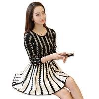 Gradient Colored Big Hem A Line Dress High Waist Knitted Women Long Sleeve Geometric Printed Spring