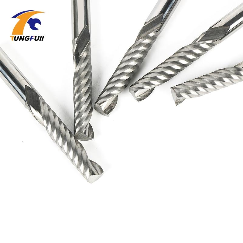 цена на 5pcs/lot 6mm SHK 32mm CEL Carbide CNC Router Bits one Flutes Spiral End Mills Single Flutes Milling Cutter Spiral PVC Cutter