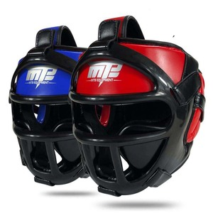 Image 1 - Kids Adults MMA Boxing Muay Thai Helmets W/Mask Martial Arts Taekwondo Removable Sparring Sanda Training Headgear 2019 EO