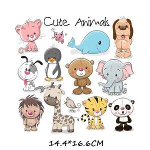 Утюжок на милые нашивки в виде животных, набор для детской одежды, сделай сам, футболка, аппликация, теплопередача, виниловая нашивка единорога, термопресс