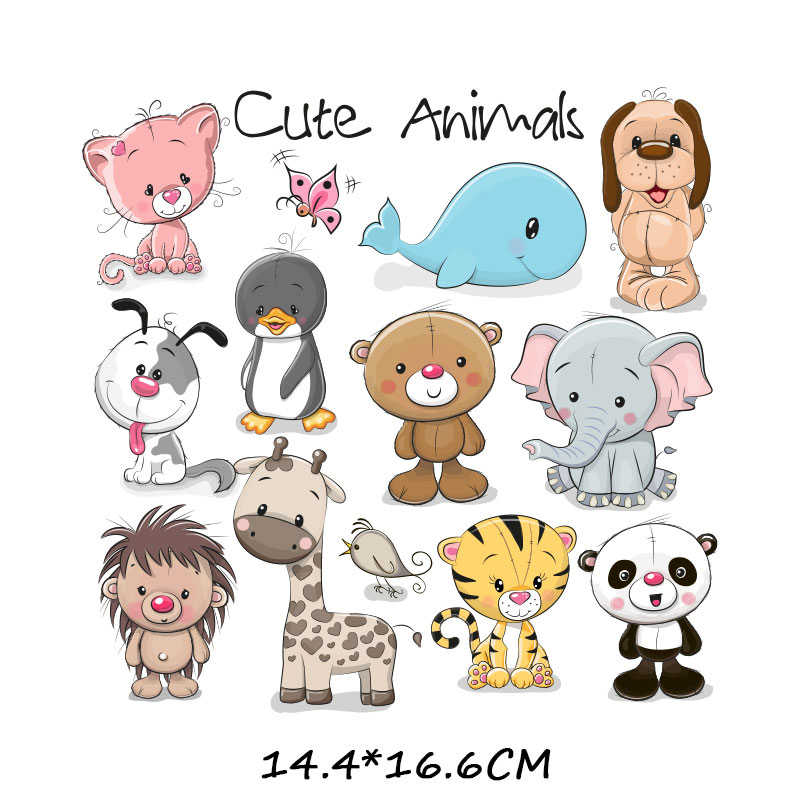Plancha con bonito Animal, juego de parches para niños, ropa DIY, camiseta, apliques, transferencia de calor, vinilo, unicornio, parches adhesivos, prensa térmica