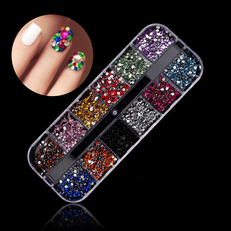 New Mix 12 Color 2mm Circle Beads Nail Art Tips Rhinestones Glitters Nail Art Gems Decoration in Rhinestones Decorations from Beauty Health