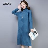 XJXKS Vestidos Mujer 2018 New Selling Female Pullover Long Dress Wool And Cashmere Knit Wear Women Sweater Knitting Dress