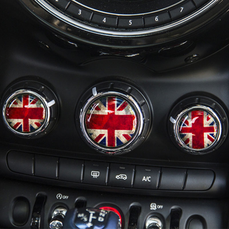 3pcs Car Interior Decoration Air Conditioning Switch Knobs Stickers Center  Console Decals For Mini Cooper F55 F56 2015 2016 2017