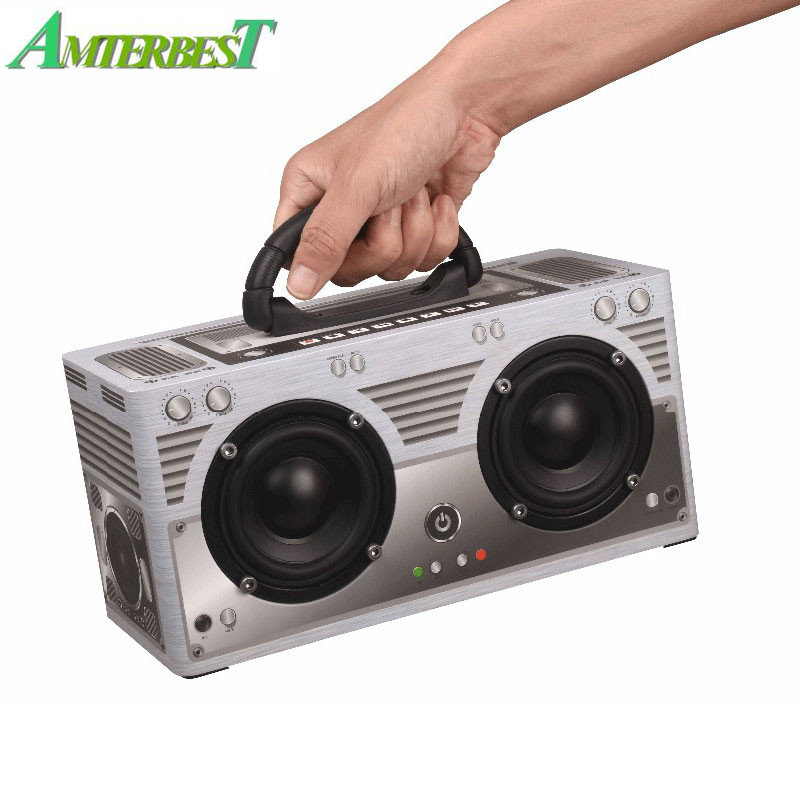 AMTERBEST W9 Bluetooth Speaker Wireless Portable Outdoor Retro Speaker Classic Dual Loudspeaker 3000mah TF AUX FM Radio Speaker vontar bt001 fashion wireless speaker led touch control colorful night light hands free aux and portable bluetooth speaker