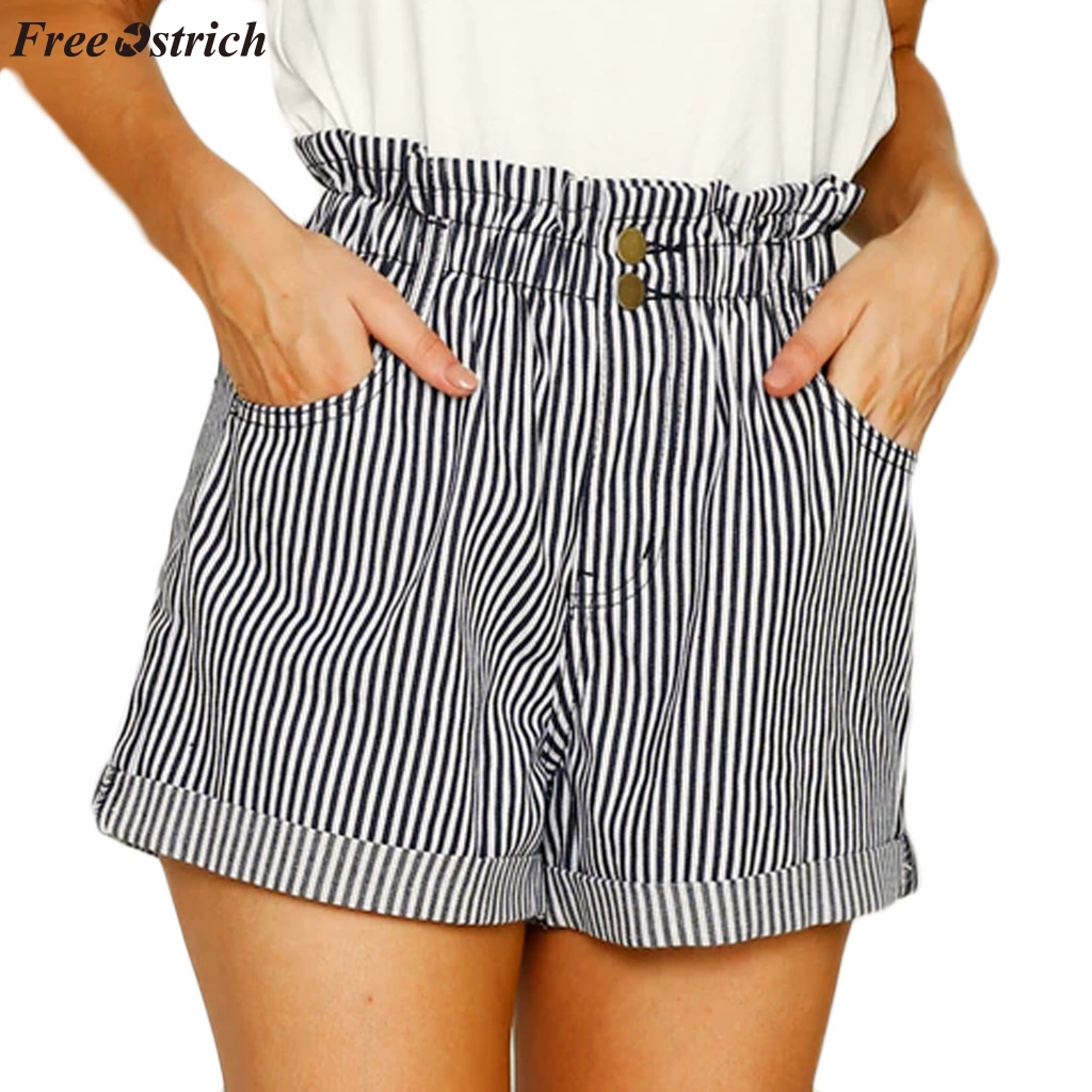 FREE OSTRICH 2019 new ladies fashion striped high waist elastic pockets simple comfortable casual personality tight   shorts   hot