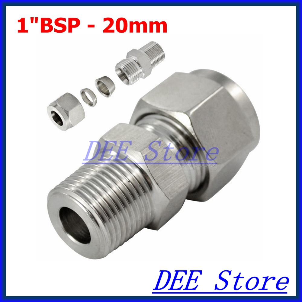 1BSP x 20mm ID Double Ferrule Tube Pipe Fittings Threaded Male Connector Stainless Steel SS 304 high quality2x1x2 female tee threaded reducer pipe fittings f f f stainless steel ss304 new