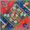 130 см * 130 см 100% Шелк Бренд Евро Стиль Женщины Геометрический квадрат Сеть Печатных Шелковый Шарф Femal Мода платки
