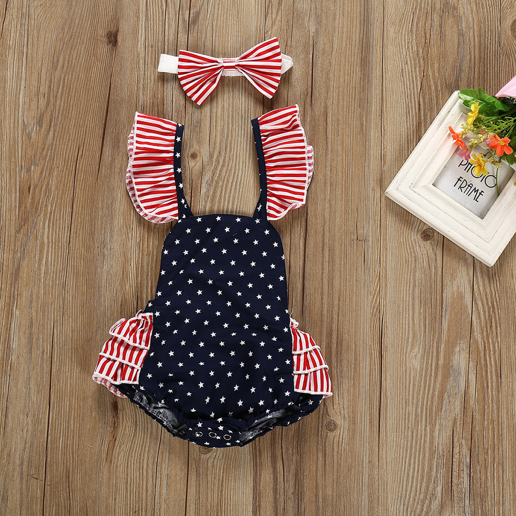 Newborn Kids Baby Girls Boys Clothes Stars Print   Romper  +Headband Set Baby Girl Clothes Baby Girl   Romper   Summer