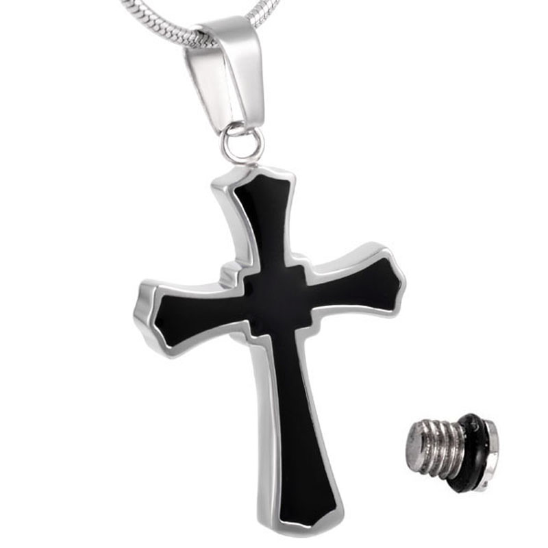 IJD8023 Two Tone Cross Urn Necklace for Ashes Memorial ...