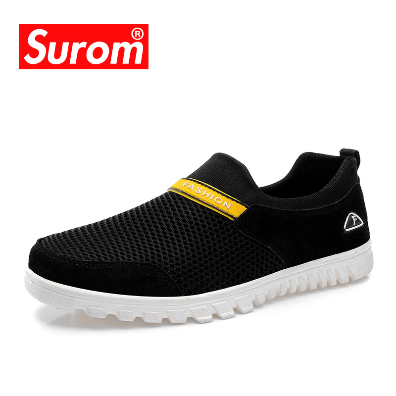 SUROM New 2018 Fashion Mens Shoes Slip on Loafers Walking Shoes Black Male Casual Shoes Men Flats Hot Sale Moccasins Sneakers hot sales new fashion dandelion spikes mens loafers high quality suede black slip on sliver rivet flats shoes mens casual shoes