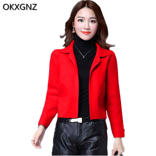 Knitted Short Jacket Women's 2017 Spring New Long Sleeves Female Sweater Fashion Solid Color Plus Size Knit Cardigan Coat A291