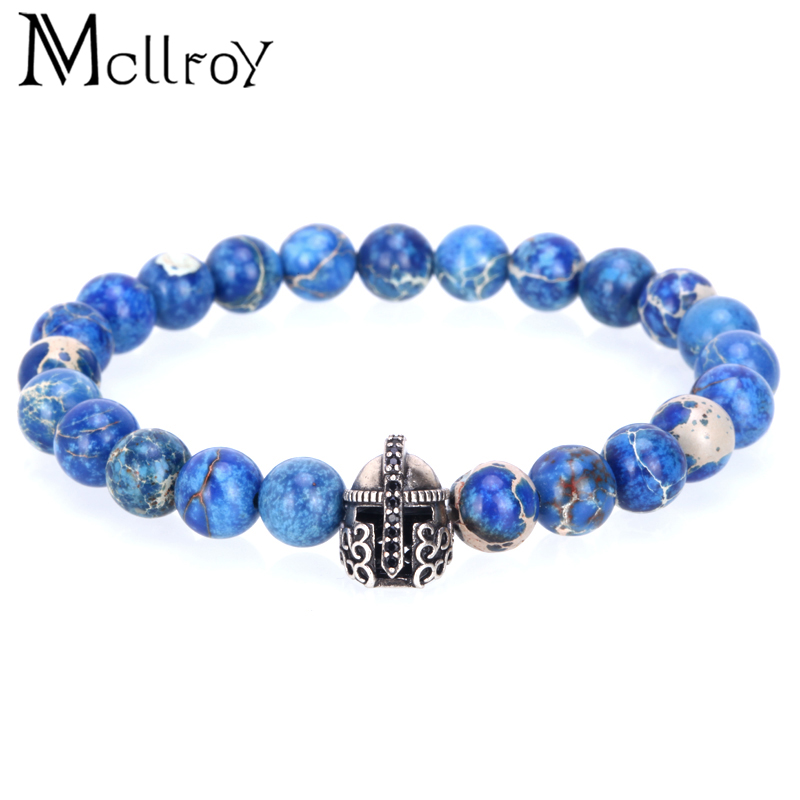 Mcllroy Bracelet Men 8mm Blue Emperor Natural stone beads Retro Solider Camail Corselet head Warrior Charms Pulseira masculina