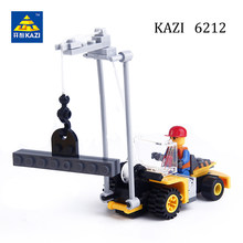 KAZI 6212 City Build Model Engineer Forklift Truck Construction Crane Building Blocks Enlighten Cars Educational Bricks Gift Toy(China)