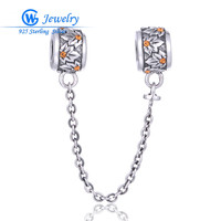 Silver 925 AAA Cubic Zirconia Safety Chains for Charm Bracelets and Necklaces GW Fashion Jewelry A016H20
