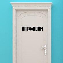 Bat Batman Wall Sticker Vinyl Art Mural Bathroom Toilet Door Decoration Super Hero Home Decor Decal  Movable W509
