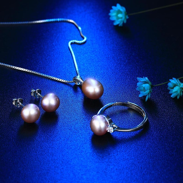 925 Sterling Silver Natural Freshwater Pearl Bridal Jewelry Set Necklace, Earrings and Ring
