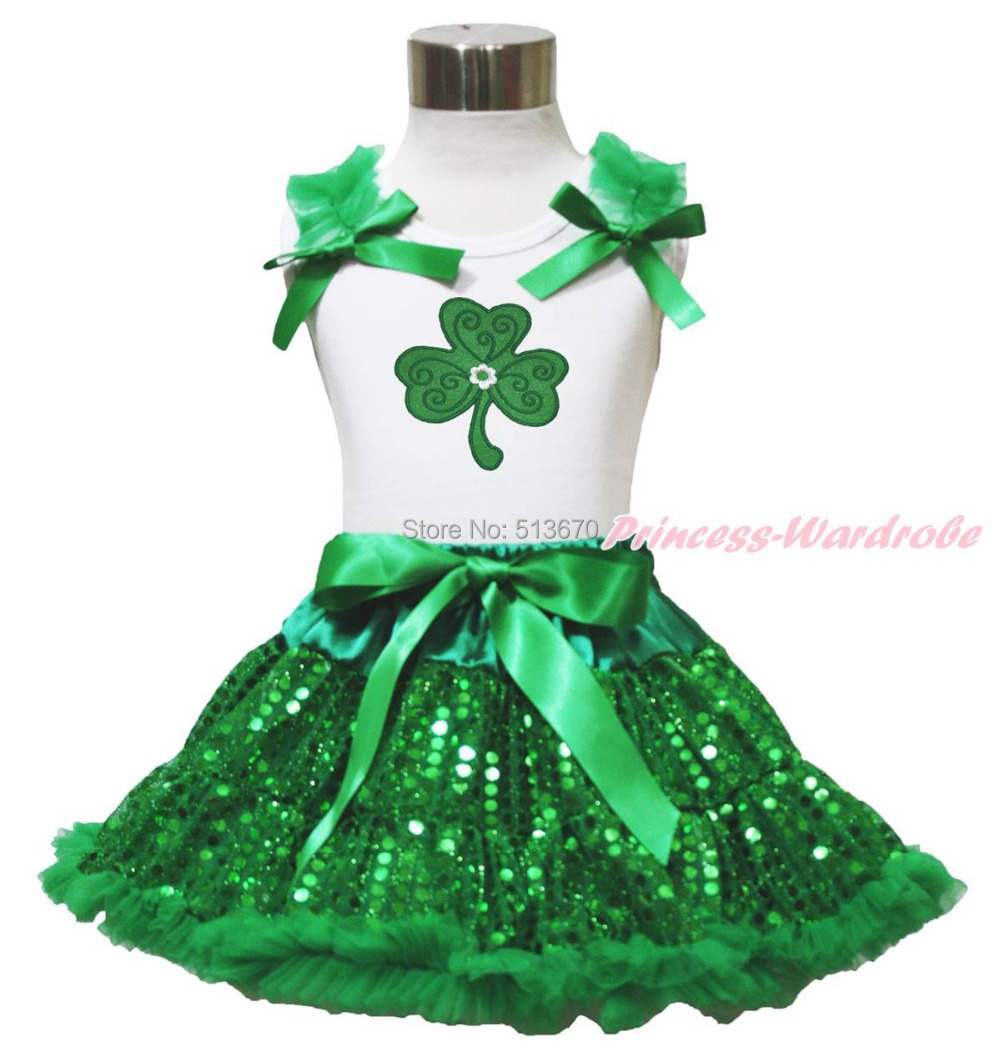 St Patrick's Day Clover White Top Girl Bling Green Sequin Pettiskirt Set 1-8Year MAPSA0444 easter ruffle bow black top gold bling sequin baby girl pettiskirt outfit 1 8y mapsa0482