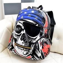 2016 новый новый мешок плеча пиратский череп мотоцикл рюкзак улица случайные сумки рюкзак Творческий mochila masculina