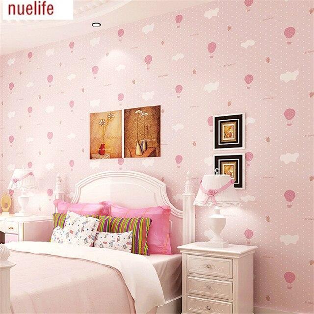 0.53x10m Non-woven wallpaper strawberry pink balloons Cute girl boy kids room wallpaper background of blue sky cloud wallpaper