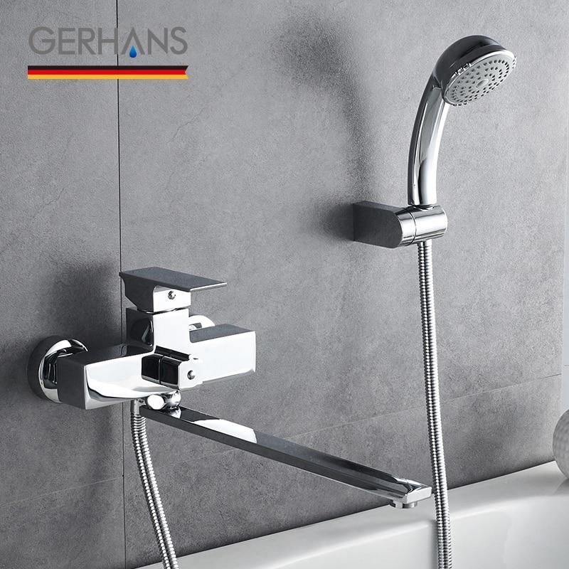 GERHANS Leometric ванна кран водопроводный смеситель настенный массаж душевая головка квадратный Длинный Носик Ванная ванна кран K13108