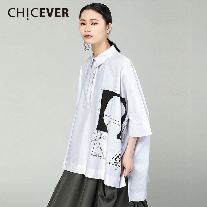 CHICEVER Spring Black Asymmetric Womens Shirt Blouses Top Abstract Pattern Nine Quarter Sleeve Loose Shirts Blouse Clothes New